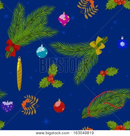Seamless Christmas pattern, pine branches, holly berries, mountain ash and Christmas toys on blue background, vector illustration