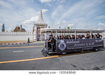 Bangkok Thailand - November 01 2016 : The travel car for free at Royal grand palace and Temple of the Emerald Buddha in funeral of His Majesty King Bhumibol in Bangkok.