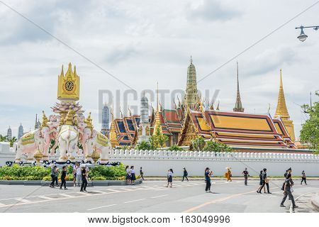 Bangkok Thailand - November 01 2016 : The Royal grand palace and Temple of the Emerald Buddha in funeral of His Majesty King Bhumibol in Bangkok.