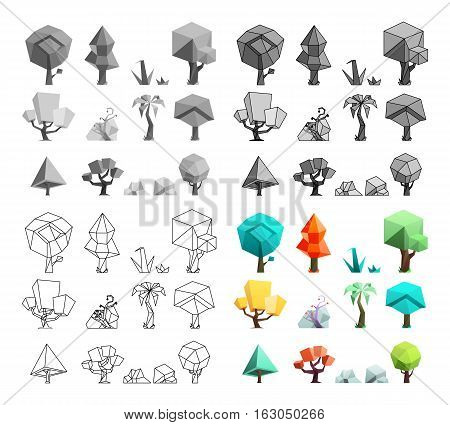 Low poly trees rocks and grass icons set flat design line art vector illustration