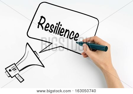 Resilience. Megaphone and text on a white background.