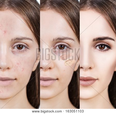 Young woman applying make-up step by step. Before and after make-up.