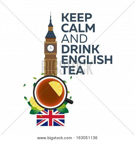 Tea Time. Cup Of Tea With Lemon. English Tea. Vector Illustration.