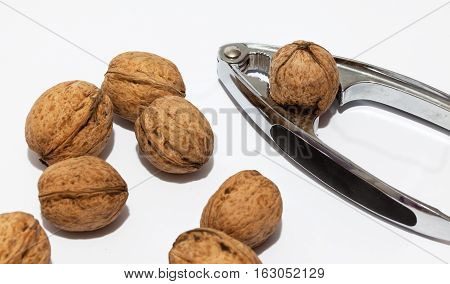 Handful of nuts and nutcracker close-up on a white background.