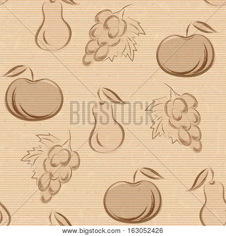 seamless pattern with fruits in hand drawn style. Vector illustration. Sepia sketch on old paper.