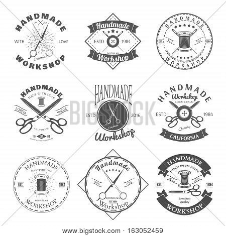 Handmade workshop logo vintage vector set. Hipster and retro style. Perfect for your business design. Vector illustration