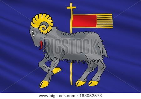 Flag of Gotland is a province county municipality and diocese of Sweden. 3d illustration