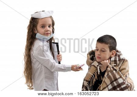 Seasonal flu epidemic. little girl in nurse costume. Boy ill flu