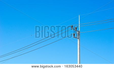 Electric pole and blue sky concept - Electric pole with blue clear sky and little bird on cable in industrial estate with copyspace