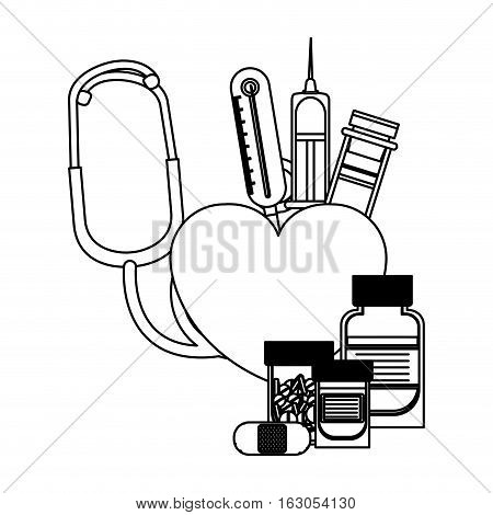 Stethoscope and medicine icon. Medical heath care and hospital theme. Isolated design. Vector illustration