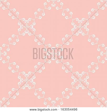 Seamless classic vector white and pink pattern. Traditional orient ornament. Classic vintage background