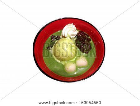 Japanese ice cream with shiratama mochi red bean paste whip cream and matcha milk - isolated on white background