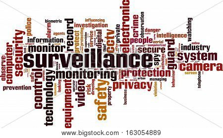 Surveillance word cloud concept. Vector illustration on white