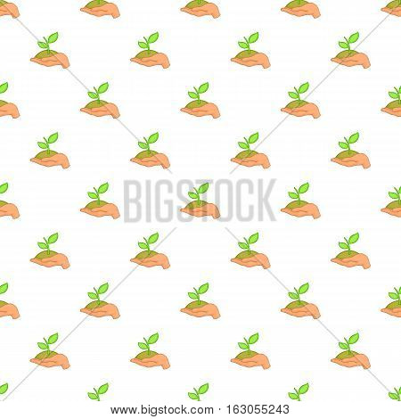 Hand holding sprout pattern. Cartoon illustration of hand holding sprout vector pattern for web