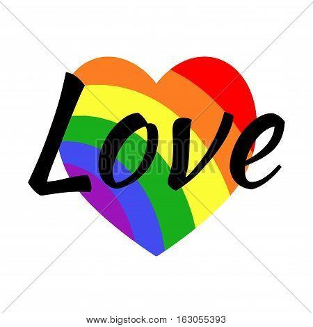 Gay LGBT rainbow love greeting card. Rainbow in form heart illustration