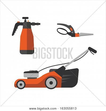 Yellow watering sprayer isolated on white. Vector illustration steel metallic single horticulture garden secateurs equipment. Irrigation agriculture metal lawn mower tool.