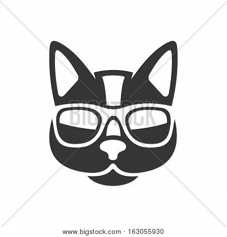 Hipster Cat Icon on White Background. Vector Illustrator