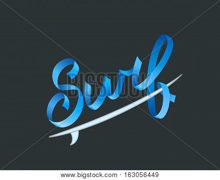 Surfing logo. Surf calligraphy, typography element, t-shirt graphics. Vector vintage illustration. Volumetric letters