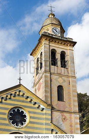 Detail of the church of San Martino (St. Martin) in the ancient village of Portofino Genova Liguria Italy
