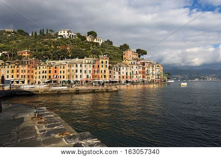 The village of Portofino with the port and colorful houses. Genova Liguria Italy