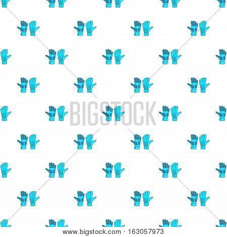 Football goalkeeper gloves pattern. Cartoon illustration of football goalkeeper gloves vector pattern for web