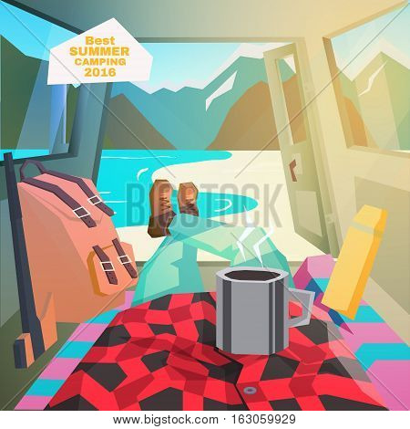 Car camping. Summer camping. View from car interior. Vector illustration