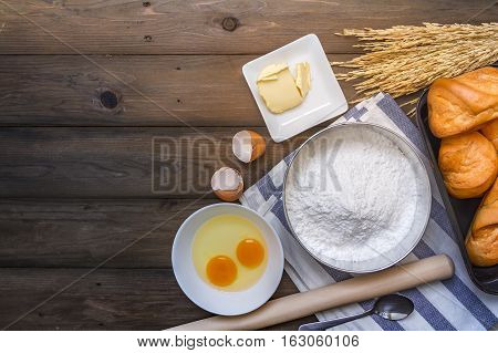 Baking Background With Raw Eggs, Sugar And Flour