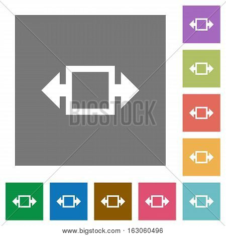 Width tool flat icons on simple color square backgrounds