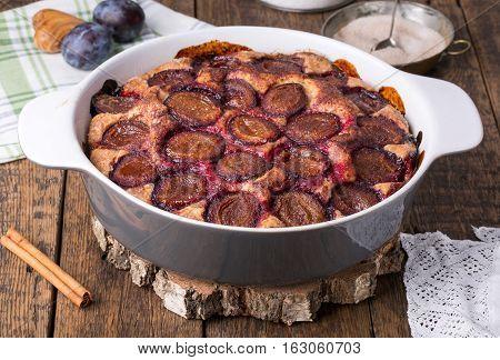 Homemade fruit cake. Original plum torte. Rustic style
