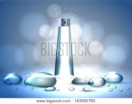 Face skincare premium ad design template. Water drops realistic.aqua skin collagen Serum and Background Concept Skin Care Cosmetic.