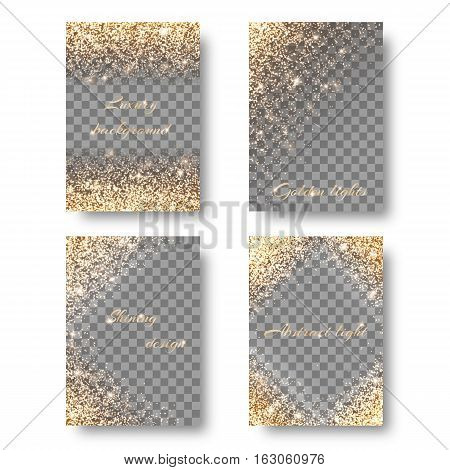 Set light backgrounds for design of postcards greetings. Christmas pattern with brilliant effect.