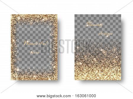 Set of shiny backgrounds with golden light on a transparent backdrop. Christmas winter wonderland
