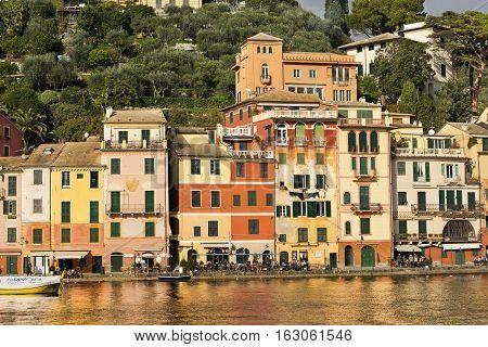 PORTOFINO ITALY - DECEMBER 9 2016: The village of Portofino with the restaurants shops and the colorful houses. Genova Liguria Italy