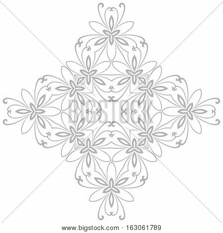 Oriental vector light silver pattern with arabesques and floral elements. Traditional classic ornament. Vintage pattern with arabesques