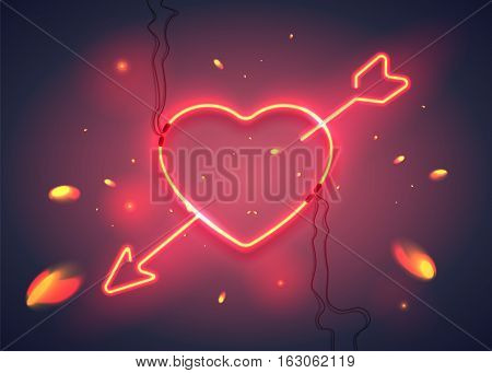Neon sign, heart with arrow on dark background with sparks. Design element for Happy Valentine's Day. Ready for your design, greeting card, banner. Vector illustration.