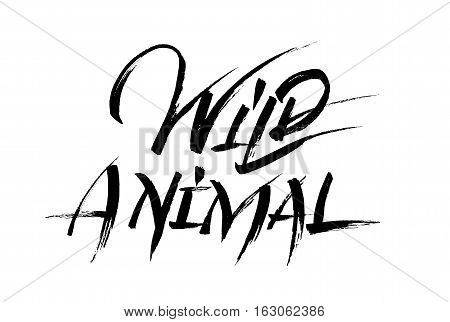 Wild animal calligraphy black letters on white background. Hand drawn lettering ink illustration. World animal day card. Modern brush calligraphy. Vector illustration stock vector.