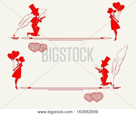 silhouette of lovers of the guy and girl with a pen for writing, a heart in retro style with place for text