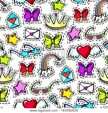 Seamless pattern with decorative fashion patch badges set with colorful girls elements. Girl patches in comic cartoon 80-90 style. Vector illustration stock vector.