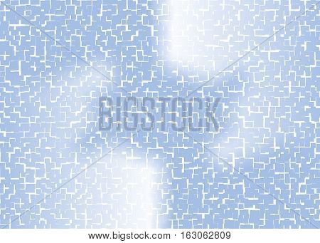 light blue background with abstract shapes cut into many small pieces