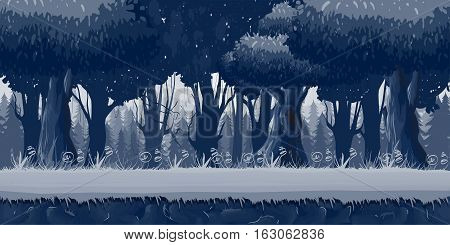 Seamless trees at night illustration, seamless nature background for game design, layered vector illustration for parallax effect