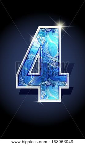Blue frost winter number four on dark background isolated. Blue frost illustration number 4for winter date design. Number 4 icon. Vector illustration stock vector.