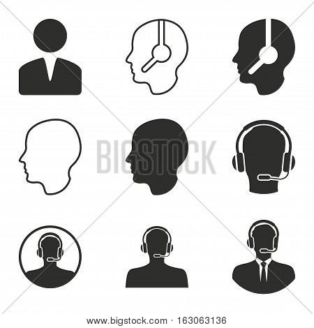 Assistance vector icons set. Black illustration isolated on white background for graphic and web design.