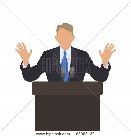 Man speaker at the podium raised his hands. Gesture calm. Male policies. Vector