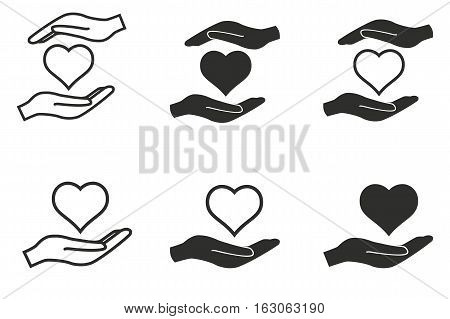 Donate vector icons set. Black illustration isolated on white background for graphic and web design.