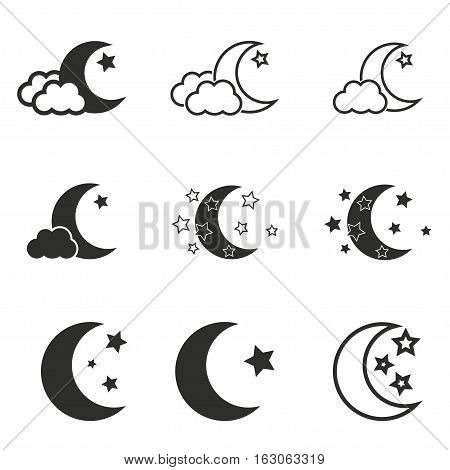 Moon star vector icons set. Black illustration isolated on white background for graphic and web design.