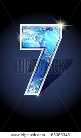 Blue frost winter number seven on dark background isolated. Blue frost illustration number 7 for winter 2017 date design. Number 7 icon. Vector illustration stock vector.