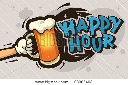 Happy Hour Cartoon Poster Design With An Illustration Of A Hand With A Mug Of Cold Beer On An Abstract Gray And Black Background With Bubbles And Stars. Vector Graphic.