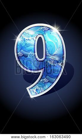 Blue frost winter number nine on dark background isolated. Blue frost illustration number 9 for winter date design. Number 9 icon. Vector illustration stock vector.