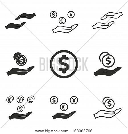Salary vector icons set. Black illustration isolated on white background for graphic and web design.