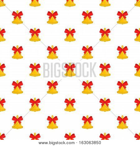 Bell with bow pattern. Cartoon illustration of bell with bow vector pattern for web